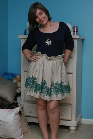 Lilly Pulitzer shirt - BCBGeneration skirt - vintage necklace
