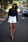 White-ovoid-asos-shorts-black-strappy-tony-bianco-heels