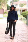 Black-fedora-yesstyle-hat-black-zipper-tote-linea-pelle-bag