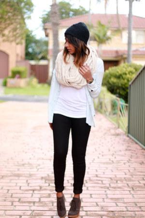 light blue chambray Vero Moda shirt - white moto skinny Topshop jeans