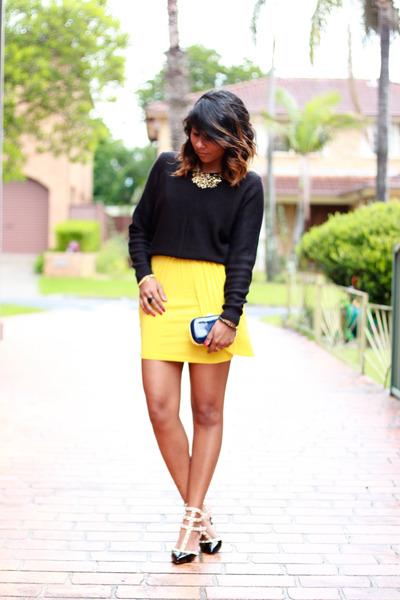 dark gray rockstud Valentino heels - yellow yellow jersey asos dress