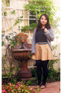 Dark-gray-charlotte-russe-shirt-navy-gap-tights-mustard-skirt-teal-belt