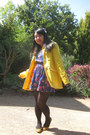 Yellow-wedges-target-shoes-blue-floral-forever-21-dress-yellow-modcloth-coat