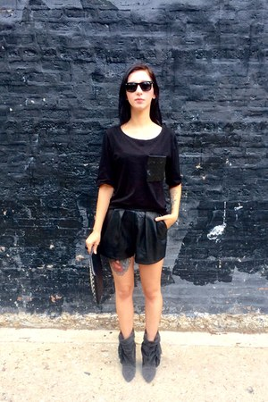 leather H&M shorts - suede Isabel Marant for H&M boots