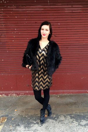 sequined H&M dress - faux fur Altuzarra for target jacket