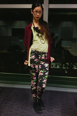 black floral print cotton on jeans - maroon oversize cotton on shirt