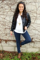 black Forever 21 jacket - white Forever 21 shirt - blue Forever 21 jeans - brown