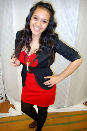 black blazer - red dress - black Forever 21 tights - brown Wet Seal shoes