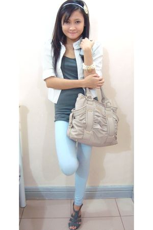 white mimi blazer - blue cotton on leggings - beige Charles & Keith purse - whit