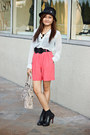 Black-sm-dept-store-hat-hot-pink-pop-mart-shorts-white-sheer-pop-top
