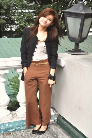 brown loose vintage pants