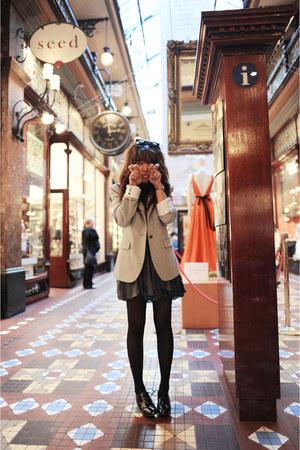 black Bloch shoes - navy Karen Walker dress - heather gray Zara blazer - black K