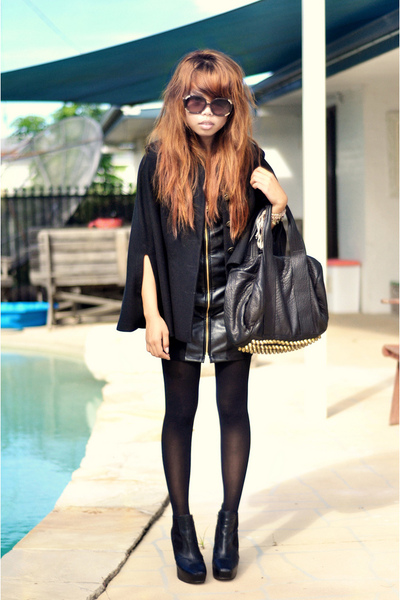 black sam edelman shoes - black Maurie & Eve dress - Forever New coat