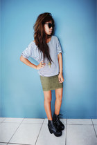 Jeffrey Campbell boots - Karen Walker sunglasses - Sportsgirl skirt