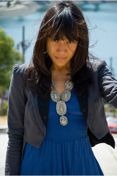 blue dress - gray blazer - black shoes - silver necklace