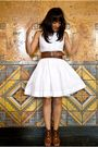 White-dress-brown-belt-brown-shoes-white