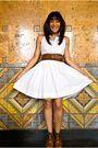 White-dress-brown-belt-brown-shoes-white