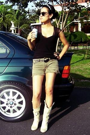 top - Victorias Secret intimate - shorts - boots - Topshop belt