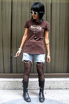 Hard Rock Cafe shirt - Levis Vintage Collection shorts - stockings - PedderRed b