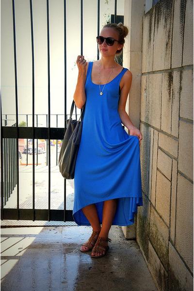 blue H&M dress - gray H&M bag - brown tortoise Bijenkorf glasses