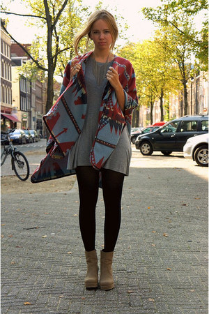 brick red ethnic asos cape - dark khaki Monki boots - heather gray Monki dress