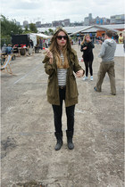 black boots - army green Zara coat - black H&M jeans - white striped Zara sweate