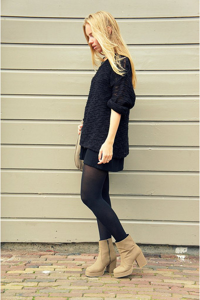 black H&M dress - dark khaki Monki boots - black Monki sweater