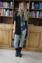 Zipper shirt - vintage boots - Object jeans - Object blazer