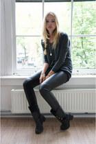 black vintage boots - dark gray H&amp;M sweater - black fake leather Zara pants
