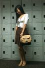 White-topshop-blouse-brown-mphosis-skirt-beige-mango-purse-yellow-step-rit
