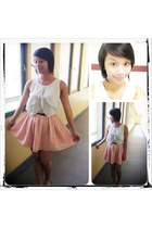 light pink chiffon Forever 21 skirt - white chiffon kirei top