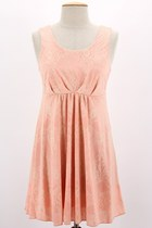 Pleated Shiny Lace Dress in Coral