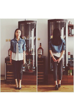 navy jeans nice claup jacket