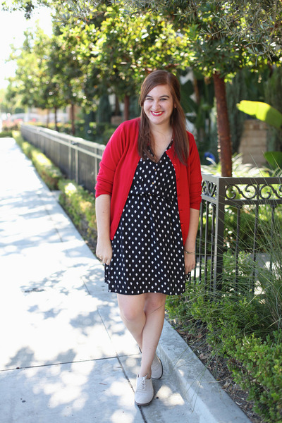 Red Thrifted Cardigan Polka