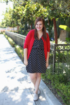 red thrifted cardigan - polka dot H&M dress - cream oxfords PacSun flats
