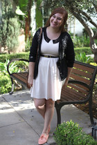 cream Khols dress - thrifted cardigan - H&M belt - oxford Urban Outfitters flats