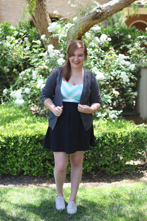 TJ Maxx top - gray Target cardigan - black Express skirt - oxfords PacSun flats
