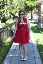red modcloth dress - thrifted shoes - H&M belt