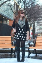 polka dot Forever 21 dress - Cathy Jean boots - Dry Goods jacket - vintage purse