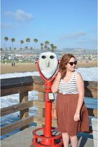 H&M skirt - cat e modcloth sunglasses - striped Target top
