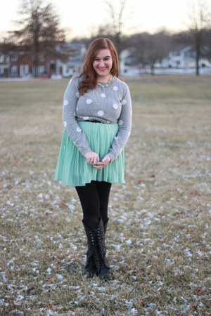 mint modcloth dress - lace-up Cathy Jean boots - polka dot Forever 21 sweater