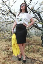 black Zara shoes - yellow Zara blazer - white Zara shirt - black Rossetti bag