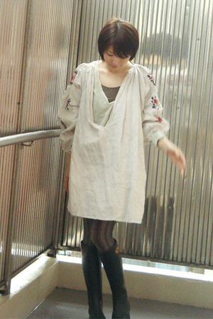 dress - tights - dafna boots - t-shirt - dress