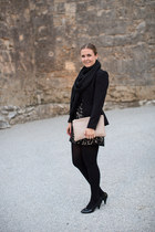 black H&M scarf - lace f21 dress - black peplum H&M blazer