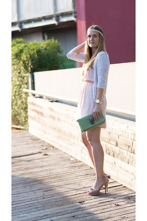 beige Mango heels - Zara dress - mint clutch unknown bag - Mango cardigan
