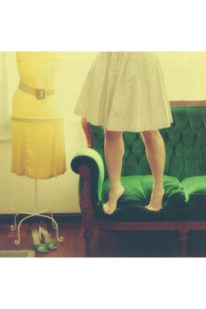 beige H&M skirt - green comme il faut shoes