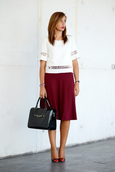 black Mango bag - ruby red Stradivarius skirt - black Tous watch