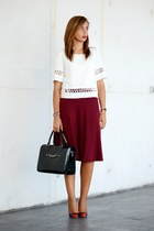 black Mango bag - ruby red Stradivarius skirt - black Tous watch