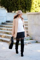 camel Mango coat - light pink Zara sweater - black Dandara skirt