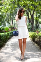 eggshell Massimo Dutti sandals - blue Zara bag - off white Mango jumper